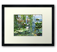 All white under the willows  Framed Print