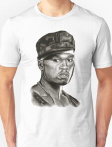 50 cent in black and white T-Shirt