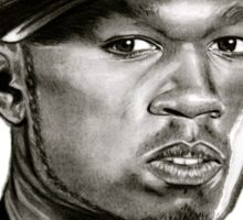 50 cent in black and white Sticker