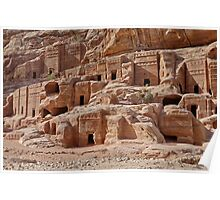 facade street in Nabataean ancient town Petra Poster