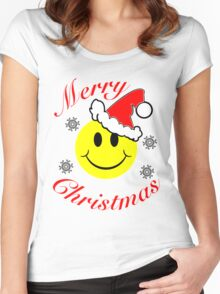 Christmas Smiley Women's Fitted Scoop T-Shirt