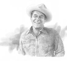 Ronald Reagan cowboy drawing by Mike Theuer