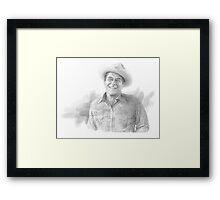 Ronald Reagan cowboy drawing Framed Print