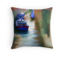 Venice Boats on the Water Throw Pillow