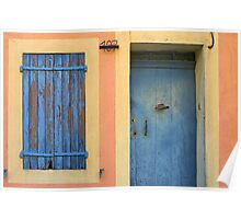 Old door with blinded window in Provence Poster