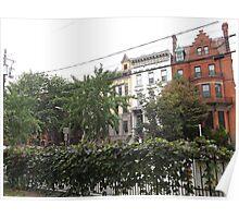 June Historic Jersey City Architecture, Van Vorst Park, New Jersey Poster