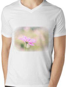 Lovely Pink Cosmos Flower Sunlight Vintage Paper Mens V-Neck T-Shirt
