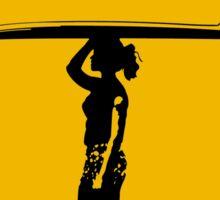 Female Surfer Crossing Warning, Road Sign, California Sticker