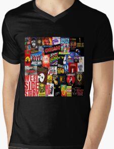 Broadway Collage Mens V-Neck T-Shirt