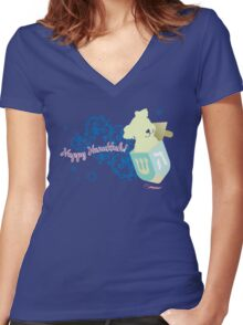 Happy Hanukkah! Women's Fitted V-Neck T-Shirt