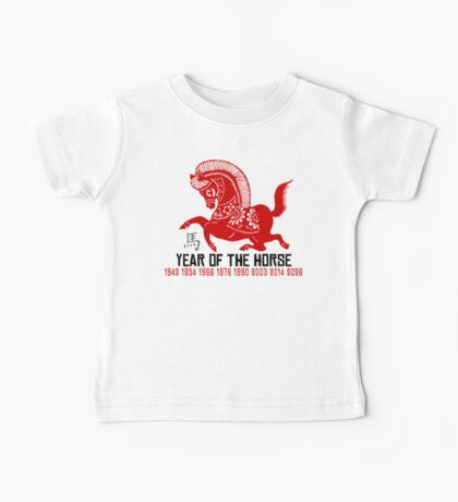 Year of The Horse Paper Cut - Chinese Zodiac Horse Baby Tee