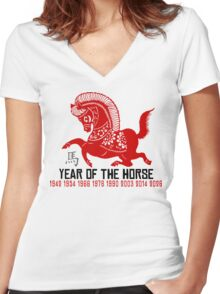 Year of The Horse Paper Cut - Chinese Zodiac Horse Women's Fitted V-Neck T-Shirt