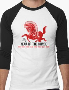 Year of The Horse Paper Cut - Chinese Zodiac Horse Men's Baseball ¾ T-Shirt