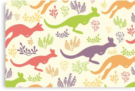 Jumping kangaroos pattern by oksancia