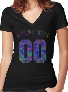 99 problems? 00 solutions! *JEWEL SAPPHIRE* Women's Fitted V-Neck T-Shirt