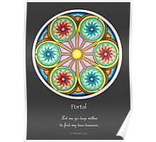 Portal Mandala - Poster w/Message and Grey Background Poster
