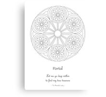 Portal Mandala - Poster - Color Your Own! w/Message Canvas Print