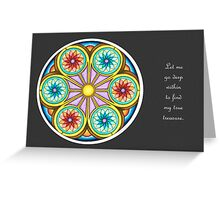 Portal Mandala - Card  w/Message, Grey Background Greeting Card