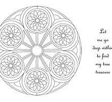 Portal Mandala - Coloring Card w/Message  by TheMandalaLady
