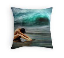 Nude Woman on Beach Throw Pillow