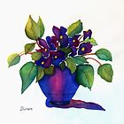 NINNY'S PURPLE VIOLETS      (Square) by ShireenJackson