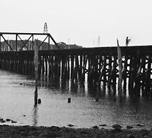 Broken Rail Bridge Fisherman by Audrey Farber