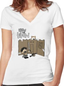 Attack on Calvin Women's Fitted V-Neck T-Shirt