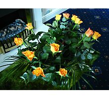 Golden Roses and Green Ferns Photographic Print