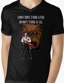 Shoot first,think later Mens V-Neck T-Shirt