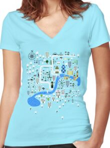 Cartoon Map of London Women's Fitted V-Neck T-Shirt