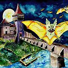 Halloween Landscape with Bats and Transylvanian Castle by ivDAnu