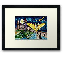 Halloween Landscape with Bats and Transylvanian Castle Framed Print