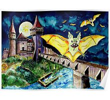 Halloween Landscape with Bats and Transylvanian Castle Poster