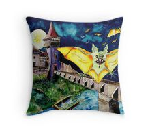 Halloween Landscape with Bats and Transylvanian Castle Throw Pillow