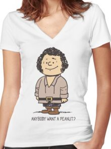 Anybody Want a Peanut? Women's Fitted V-Neck T-Shirt