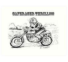 Black and white caferacer motorbike (3) Art Print