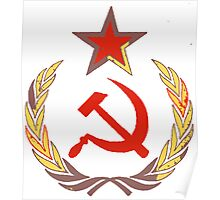 Red star and hammer and sickle Poster