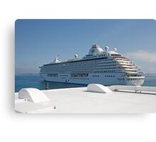 Crystal Serenity leaves St Peters Port Guernsey Canvas Print