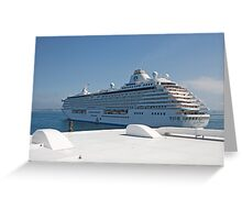 Crystal Serenity leaves St Peters Port Guernsey Greeting Card