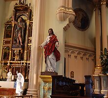 John the Baptist Altar & Sacred Heart - St. Mary's Historical Church by John Schneider