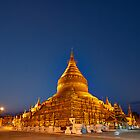 NIGHT SHOT GOLDEN SHWEZIGON PAGODA, Bagan by travel4pictures