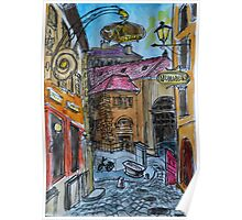 Watercolor Sketch - Genève, Old Town, Rue Chasse-Coq Poster