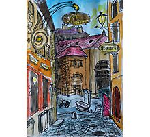Watercolor Sketch - Genève, Old Town, Rue Chasse-Coq Photographic Print
