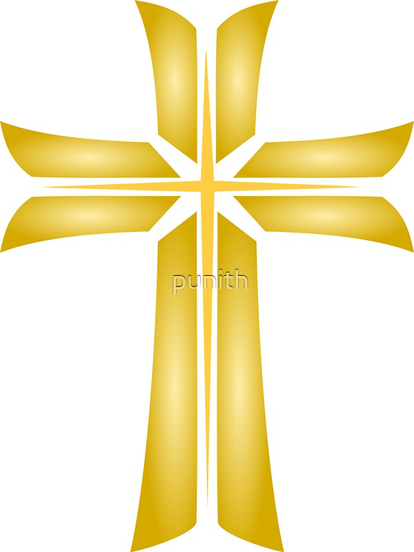 """Golden Cross Christian Religious Symbol"" Stickers by ..."