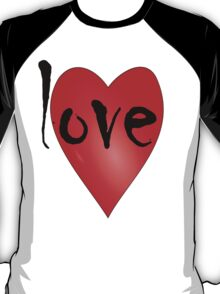 Love Symbol Red Heart with Letters 'LOVE' T-Shirt