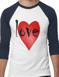 Love Symbol Red Heart with Letters 'LOVE' Men's Baseball ¾ T-Shirt