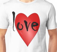 Love Symbol Red Heart with Letters 'LOVE' Unisex T-Shirt