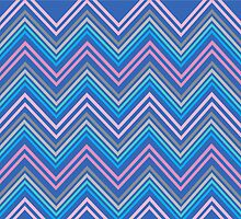 Periwinkle Blue Pink & Gray Chevron Abstract Pattern by Christina Katson