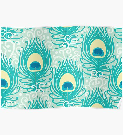 Peacock feathers pattern Poster