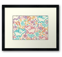 Elephants with bouquets pattern Framed Print